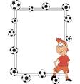Frame with a soccer player cartoon vector