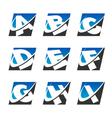 Swoosh sport alphabet icons set 1 vector