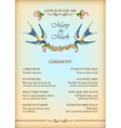 Floral wedding party card with flowers birds vector