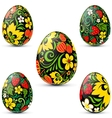 Easter eggs icon set in traditional russian style vector