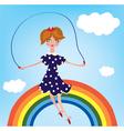 Girl cihild on the rainbow vector