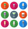 Flat solid colors alcohol glasses set vector