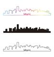 Miami skyline linear style with rainbow vector
