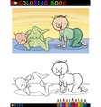 Cartoon cute babies for coloring vector