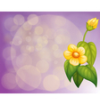 A gradient colored stationery with yellow flowers vector