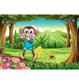 A monkey at the forest with bananas vector