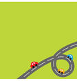 Background with loop road and cartoon cars vector