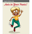 A boy with ants in his pants vector