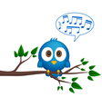 Blue bird sitting on twig singing vector