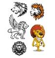 Cartoon and heraldic lion characters vector