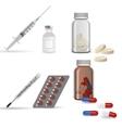 Realistic medical icons syringe pills jar vector