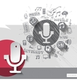 Hand drawn microphone icons with icons background vector
