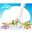 Frame with milk splash funny cow swimming and vector