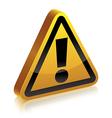 3d warning sign vector