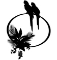 Macaw and plant silhouette vector