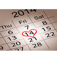 Valentines day calendar february 14 of saint vector