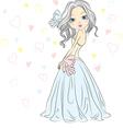 Girl bride in her wedding dress vector