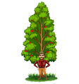 A lumberjack under the tree vector
