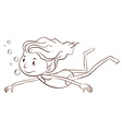 A plain sketch of a girl swimming vector