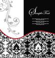 Red elegant damask wedding invitation vector