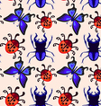 Stag beetle butterfly and ladybug seamless pattern vector