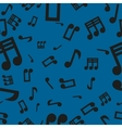 Musical notes seamless pattern blue vector