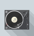 Flat style turntable with vinyl record in work vector