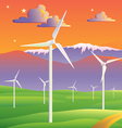 Wind turbines farm sunset landscape vector