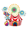 A carnival with a clown holding balloons vector