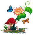 A flowering plant with butterflies vector
