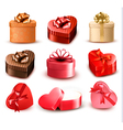 Set of colorful gift heart-shaped boxes with bows vector
