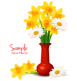 Daffodil vase background vector
