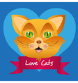 Label cat isolated on blue background vector