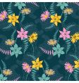 Seamless background with colored flowers vector