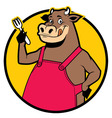 Smiling cow wearing apron vector