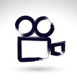 Realistic ink hand drawn video camera icon simple vector