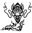 Dragon head black white tattoo vector