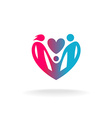 Classical family of three people in a heart shape vector