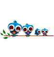Cute blue bird cartoon family vector