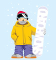 Snowboarder pose with board vector