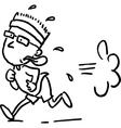 Running man - black line vector