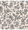 Monochrome seamless background with roses vector
