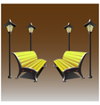 A wooden bench and a lamp on a brown background vector