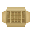 Open empty corrugated cardboard packaging box vector