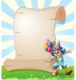 A clown beside a long paper scroll vector