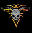 Ghost tattoo skull tribal with fireon white backgr vector