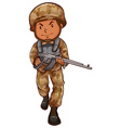 A drawing of a soldier with a gun vector