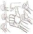 Set of seven hands vector