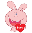 Pink rabbit laughing and holding a red heart vector
