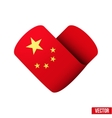 Flag icon in the form of heart i love china vector